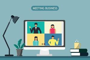 vdo conference encontro de negócios e conceito de conexão vetor