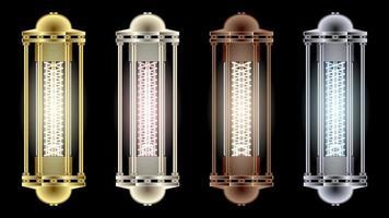 definir lanternas de diferentes metais estilo steampunk vetor