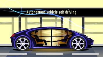 veículo autônomo com direção automática, carro inteligente sem motorista vetor