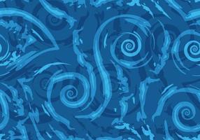 padrão de vetor sem costura de linhas azuis rasgadas e espirais em um fundo náutico