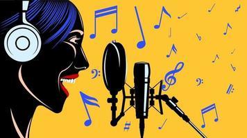 cantora cabeça de mulher em fones de ouvido na frente do microfone vetor