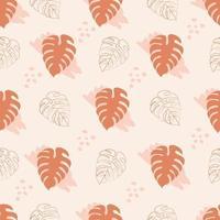 padrão sem emenda com folhas de monstera na cor marrom vetor