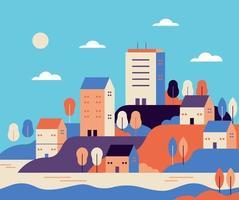 ilustração vetorial simples minimalista estilo plano geométrico paisagem cidade