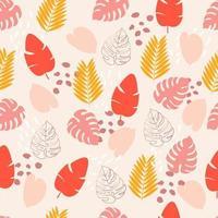 padrão sem emenda com folhas tropicais rosa, amarelas e vermelhas