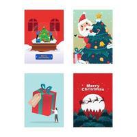 feliz Natal e Feliz Ano Novo. ilustração de cartão de férias com floresta, papai noel, veados, árvore de natal e pinheiros vetor