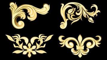padrão de tecido decorativo de estuque decorativo em ouro 3d vetor