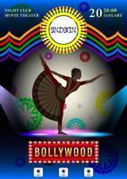 mulher indiana em trajes nacionais poster de dança vetor