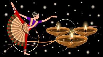 mulher indiana em traje nacional de dança e lâmpadas diya de argila vetor