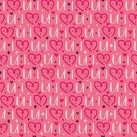 coração do feriado de São Valentim com letras padrão sem emenda