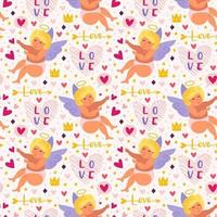 Cupidos engraçados com padrão sem emenda de arco, auréola e corações