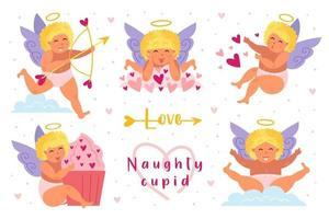 Cupidos engraçados com cabelo loiro e conjunto halo vetor