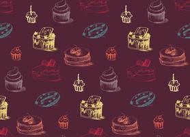 padrão sem emenda de bolos saborosos vetor