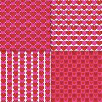 padrões de vetores coração mod rosa vermelho sem costura
