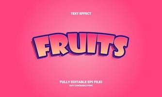 ilustração em vetor frutas efeito texto moderno
