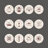 ícones de destaque do ano novo chinês vetor