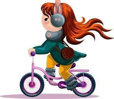 imagem vetorial de uma garota andando de bicicleta. estilo dos desenhos animados. vetor