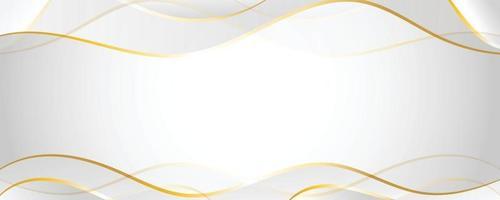 papel branco e cinza com linha dourada, fundo do banner horizontal vetor