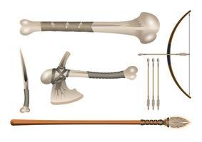 3D realista conjunto arma de combate a frio com ossos vetor