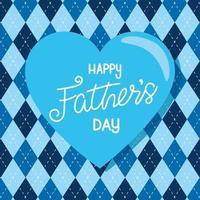 cartão de feliz dia dos pais com decoração de coração vetor