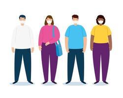 campanha de coronavírus com pessoas usando máscaras vetor