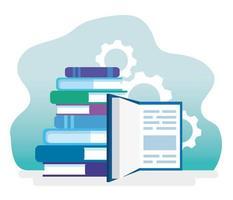 pilha de livros, educação e engrenagens vetor