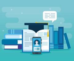tecnologia de educação online com smartphone e ícones