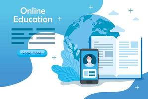 modelo de banner de tecnologia de educação online com smartphone e ícones
