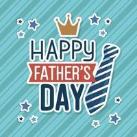 cartão de feliz dia dos pais com coroa de rei e gravata vetor
