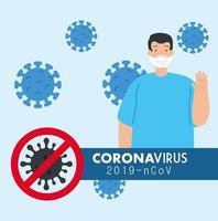 parar campanha de coronavírus com homem usando máscara facial