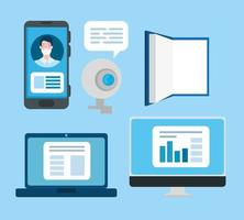 conjunto de ícones de tecnologia de educação online vetor