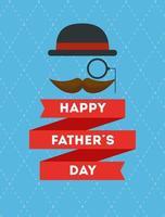 cartão de feliz dia dos pais com bigode e chapéu elegante vetor