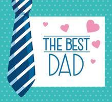 cartão de feliz dia dos pais com gravata e corações vetor
