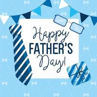 cartão de feliz dia dos pais com guirlandas penduradas e decoração vetor