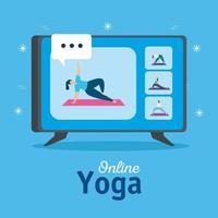 mulheres praticando ioga online vetor