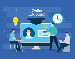 homens de tecnologia de educação online com computador