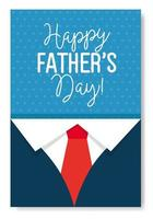cartão de feliz dia dos pais com decoração de camisa e gravata vetor