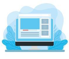 monitor de computador com página da web e decoração de folhas vetor