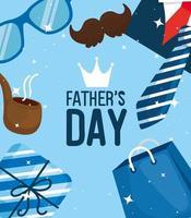 cartão de feliz dia dos pais com ícones masculinos vetor