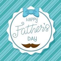 cartão de feliz dia dos pais com fita em arco e bigode em uma moldura redonda vetor