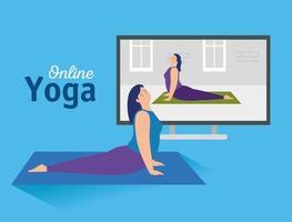 mulher praticando ioga online vetor