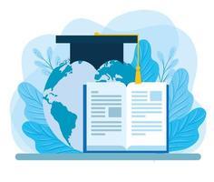 livro com planeta Terra e chapéu de formatura vetor