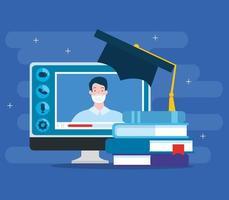 tecnologia de educação online com computador e ícones
