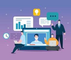 homens de tecnologia de educação online com ícones vetor