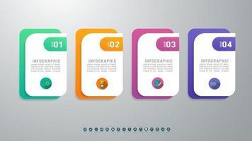 modelo de infográficos simples e elegante de 4 opções com apresentação de elemento. vetor