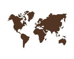 silhueta da geografia do mapa mundial vetor