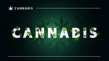 cannabis, cartaz verde com grandes letras brancas e 3g de folhas de maconha em fundo escuro. sinal de cannabis com folhas vetor