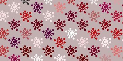 fundo vector rosa claro com símbolos covid-19.