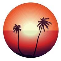 pôr do sol tropical com palmeiras vetor