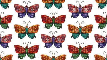 padrão sem emenda de borboleta steampunk vetor