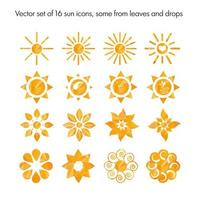 conjunto de 16 ícones de sol vetor